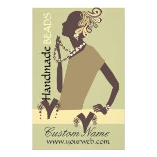 Fashion Jewel  Model with Modern Beaded Art Flyer Design