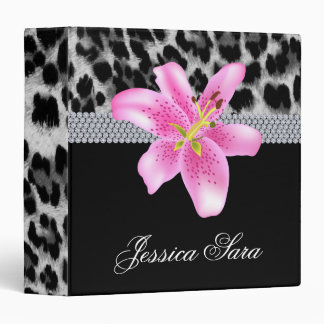 Fashion Jewelry Binder Portfolio Leopard Lily Pink