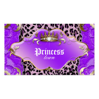 Fashion Jewelry Business Card Leopard Lace Purple
