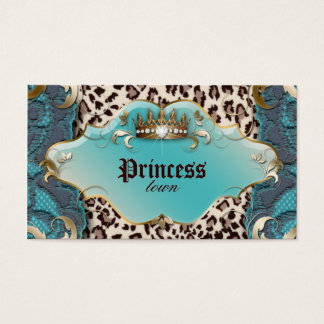 Fashion Jewelry Business Card Leopard Lace Teal