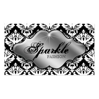 Fashion Jewelry Business Cards Damask Silver