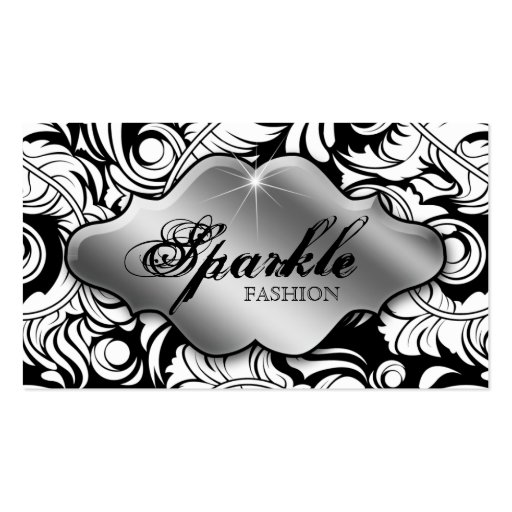 Fashion Jewelry Business Cards Leaf Swirl Silver