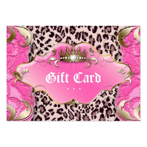 Fashion Jewelry Gift Certificate Leopard Lace Pink Business Card