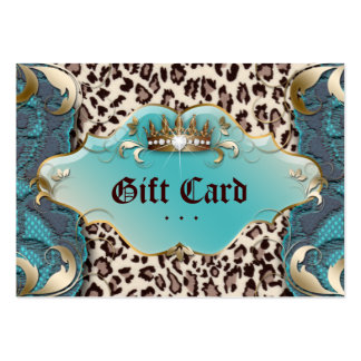Fashion Jewelry Gift Certificate Leopard Lace Teal Business Cards