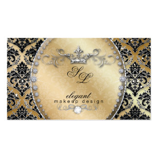 Fashion Jewelry Makeup Artist Damask Crown Cool Business Card