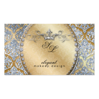 Fashion Jewelry Makeup Artist Damask Crown Cool Business Cards