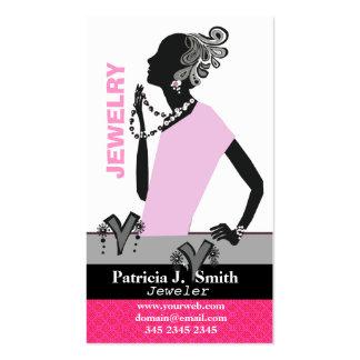 Fashion Jewelry Model Figure Pink Dress Business Card