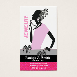 Fashion Jewelry Model Figure Pink Dress Business Card