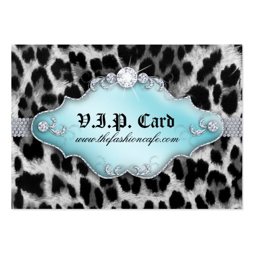 Fashion Jewelry VIP Club Card Leopard Black Blue Business Cards