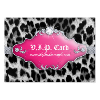 Fashion Jewelry VIP Club Card Leopard Black Pink Large Business Cards (Pack Of 100)
