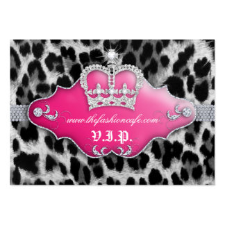 Fashion Jewelry VIP Club Card Leopard Crown Pink Large Business Cards (Pack Of 100)