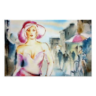 Fashion Lady in the Street Painting Print