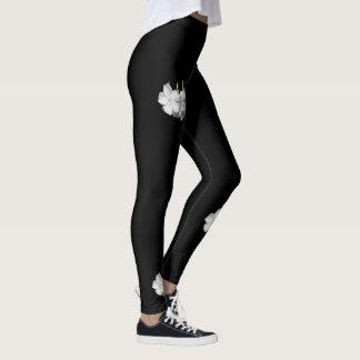Fashion Leggings-Women-White Flowers on Black Leggings