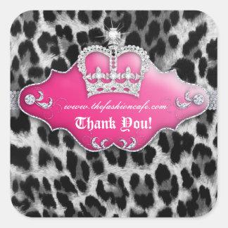 Fashion Leopard Sticker Jewelry Pink Crown