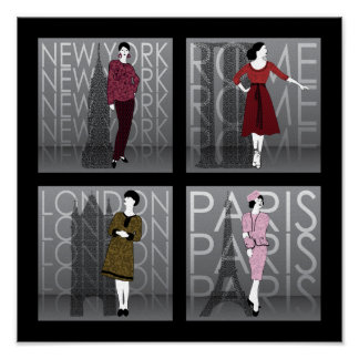 Fashion London, New York, Paris and Rome Poster