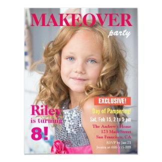 Fashion Magazine Makeover Girls Birthday Party 4.25x5.5 Paper Invitation Card