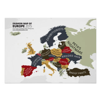 Fashion Map of Europe Poster