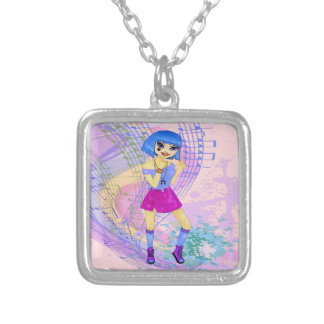 Fashion model manga anime dancing girl silver plated necklace