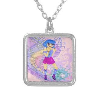 Fashion model manga anime dancing girl square pendant necklace