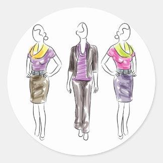 Fashion Model Sketches Classic Round Sticker