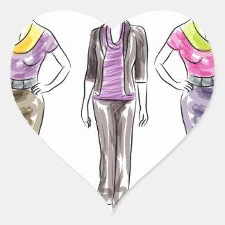 Fashion Model Sketches Heart Sticker
