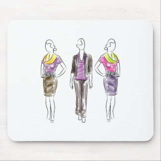 Fashion Model Sketches Mouse Pad