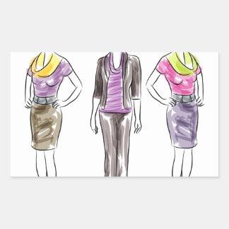Fashion Model Sketches Rectangular Sticker