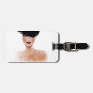 Fashion Model with Tattoo and black hair Luggage Tag
