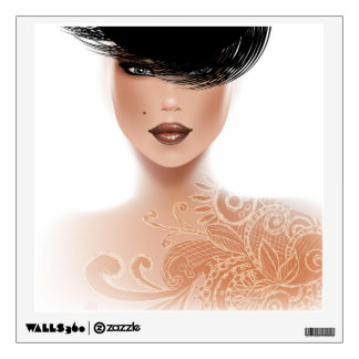 Fashion Model with Tattoo and black hair Wall Decal