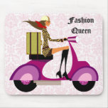 Fashion Mousepad Scooter Woman Pink Leopard