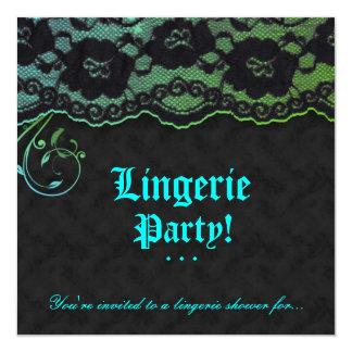 """Fashion Party Invitation Lace Blue Green Black 5.25"""" Square Invitation Card"""