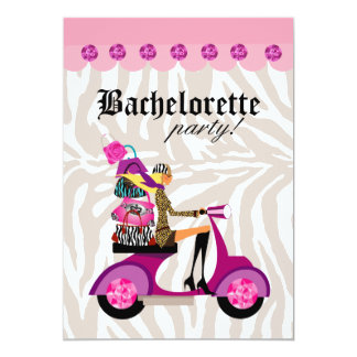 Fashion Party Invite Scooter Woman Zebra Blonde