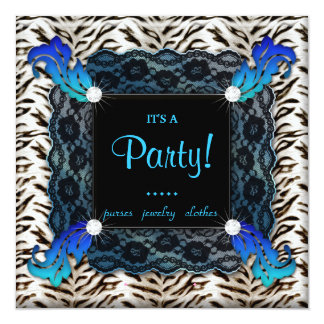 Fashion Party Zebra Lace Invite Blue Square