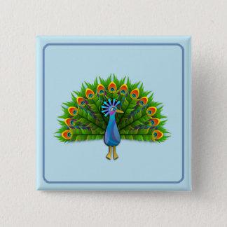 Fashion Peacock Square Button