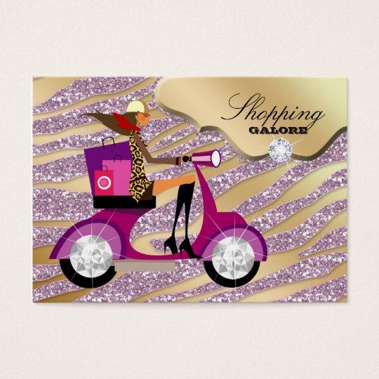 Fashion Personal Shopper Jewelry Gold Pink Glitter Business Card