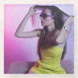 Fashion Photography Glass Coaster - Violet