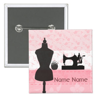 Fashion Pink Floral -  Seamstress Dressmaker Button