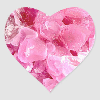 Fashion pink gemstone heart sticker