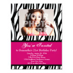 "Fashion Pink Zebra Custom Party Invitations 4.25"" X 5.5"" Invitation Card"