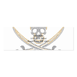 fashion pirate skull gold  diamond and pearls Double-Sided mini business cards (Pack of 20)