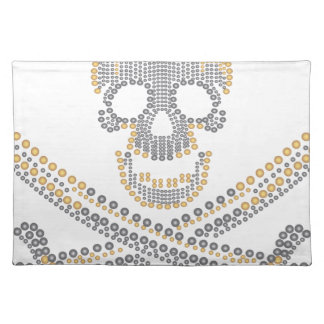 fashion pirate skull gold  diamond and pearls cloth placemat