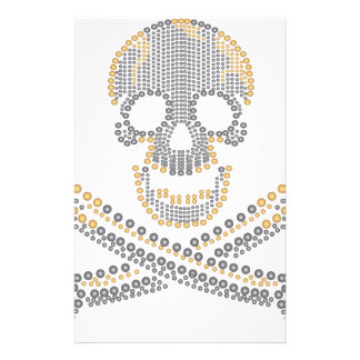 fashion pirate skull gold  diamond and pearls stationery