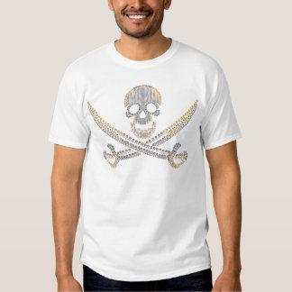 fashion pirate skull gold  diamond and pearls t-shirt