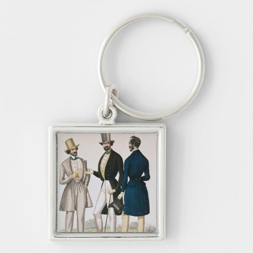 Fashion plate depicting male clothing keychains