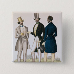 Fashion plate depicting male clothing pinback button