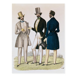 Fashion plate depicting male clothing postcard