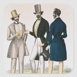 Fashion plate depicting male clothing square sticker