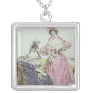 Fashion plate, 'Le Follet Courrier Salons Silver Plated Necklace