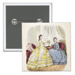 Fashion plate showing ballgowns 2 inch square button
