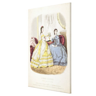 Fashion plate showing ballgowns gallery wrapped canvas